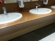 Столешницы Hpl гнутые для санузлов общественных интерьеров,  столы hpl - foto 2