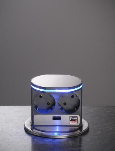 VoltPort Standard выдвижная розетка с LED подсветкой и USB зарядкой - main